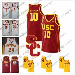 d9425b83dcb NCAA USC Trojans 10 DeRozan 24 Brian Scalabrine 11 McLaughlin 4 Chimezie  Metu DeMar red yellow white vintage College Basketball Jersey S-4XL