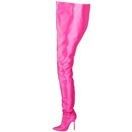 Wholesale ARQAEuropean new satin fashion ladies sexy knee boots pointed belt boots catwalk nightclub over the knee long thigh shoes