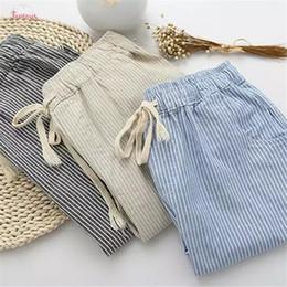 Wholesale women linen pants for sale – dress Cotton Bigsweety Women Casual Pants Fashion Loose Linen Long Pants Elastic Waist Straight Striped Trousers Pantalon