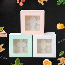 Snack Pack Wholesale Australia - Wedding Party Muffin Cupcake Boxes DIY Bakery Pastry Cookie Box with Transparent Window Dessert Macaron Candy Snack Packing Box