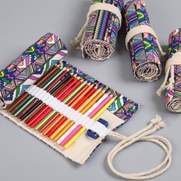 Canvas Pencil Roll Case Australia - School Canvas Roll Pencil Bag For Girl Boys 36 48 72 Holes Pencil Case Big Capacity Box School Supplies Stationery