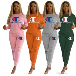 Rip leggings online shopping - Champions Women brand sports two piece set long sleeve hoodies sweatsuit ripped leggings designer fall winter clothing fashion outfits
