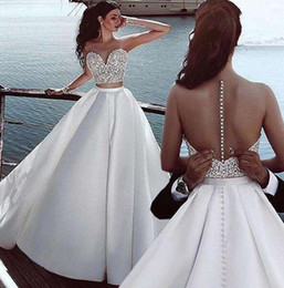 $enCountryForm.capitalKeyWord NZ - 2019 two piece Sexy A-Line Wedding Dresses crystal beaded puffy stain overskirts Elegant beach Wedding Dress Bridal Gowns Vestidos De Novia