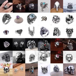 Mens Heavy Rings Australia - Heavy Stainless Steel Gothic Punk Biker Rings Fashion Mens Skull Jewelry US 8-11
