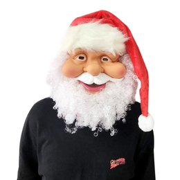 funny gifts christmas Canada - Christmas Santa Mask Funny Super soft The Santa Claus Mask Wig Beard Costume Christmas Gift Party Holiday Supply