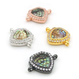 $enCountryForm.capitalKeyWord Australia - 16*12*3mm Micro Pave Clear CZ Gridding Abalone Shell Shield Connectors Fit For Making Bracelets Jewelry