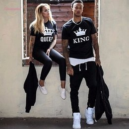 couple shirts lovers NZ - King Queen Letter Printing Summer Fashion 2020 Couple Clothes Women Men T Shirt Funny Lovers Matching Clothes Cap Sleeve Couple Tee Shirt