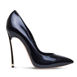 bronze gold stilettos 2019 - 2019 Kim Kardashian Metal Blade High Heels Dress shoes .genuine Leather Pointed -Toe pumps Gold heels party Shoes big si
