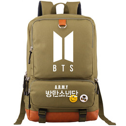3572316302d9 Bangtan Boys backpack Bts group day pack Army green color school bag  Leisure packsack Quality rucksack Sport schoolbag Outdoor daypack