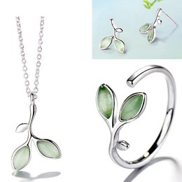 $enCountryForm.capitalKeyWord NZ - Simple leaf women rings open cat's eye green ring designer earrings necklace designer jewelry designer necklace luxury jewelry drop ship