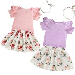 kids girls skirts top dress 2019 - Infants Kid Baby Girl Clothes Tops Romper Floral TuTu Skirts Dress 3Pcs Outfits cheap kids girls skirts top dress