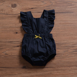 Jumpsuit Black Girls Australia - Flying Sleeve INS Black Baby Girls Sleeveless Rompers Must-have Infant Girls Bodysuits One-piece Sleeveless Toddler Bodysuits Girls Jumpsuit