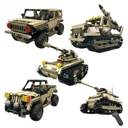 gear play NZ - RC Military Car Truck Tank Building Blocks DIY Car Assemble Toy 2.4GHz 4 Channels Remote Control RC Model 40min Playing Time