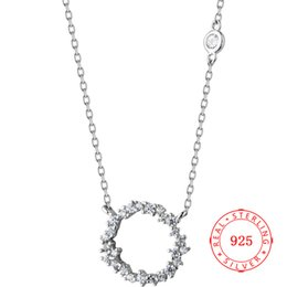 cz chains Australia - High Quality New Fashion Simple Silver Chain Small Round Pendant Circle Necklace Women CZ Crystal Necklaces Bijoux Collier Femme Corrente