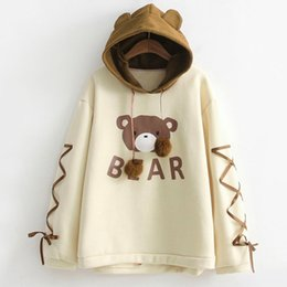 bored hair UK - Women Kawaii A Bear Cap (Women's Hoodies & Sweatshirts Women's Clothing Hoodies Sweatshirt Harajuku Top Womens Long Sleeve A Ribbon Hair Bal