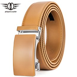 $enCountryForm.capitalKeyWord NZ - wholesale Genuine Leather Belt Men High Quality Ratchet Dress Belt With Automatic Buckle Blue Red Light Brown Mens Belts B36
