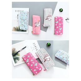 Horse Stationery Australia - Cartoon Creative Unicorn Candy Color School Supplies Stationery Gifts Cute Zipper Pencil Case Little horse Canvas Office School Tools Pencil