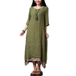 Plus Size Irregular Hem Dress NZ - 2018 Women Cotton Linen Vintage Dress Split Irregular Hem Casual Dress Loose Boho Long Maxi Dresses 5XL Plus Size Rope Vestidos