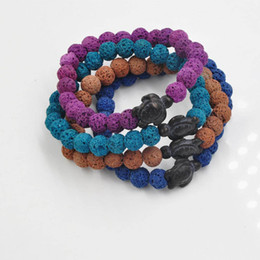 $enCountryForm.capitalKeyWord Australia - New arrival mens bead bracelets Colorful Lava stone Little Turtle bracelets Yoga Buddha Energy Bracelets free shipping
