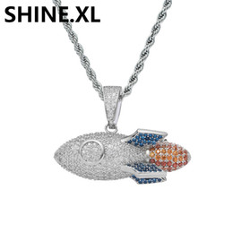Rocket pendants online shopping - Iced Out Pendant Color Sterling Silver Material Rocket Pendant Necklace Micro Paved Zircon Mens Hip Hop Jewelry Gift