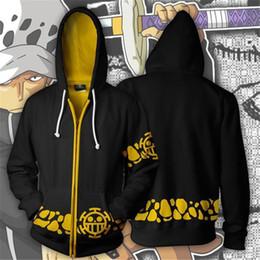 One piece trafalgar law hOOdie online shopping - Anime Hoodie One Piece D Hoodies male Sweatshirts Trafalgar Law Cosplay Pirates Of Heart zipper Hoodies hoody jacket men XL