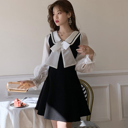 Wholesale spring skater dress resale online – 2020 Spring School Dress Sweet Bowknot Peter Pan Collar Chiffon Long Sleeve A Line Skater Dress Female Casual Cute Cloth