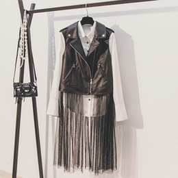 $enCountryForm.capitalKeyWord Australia - Womens Autumn Leather Vest New Korean Fashion Pu Spliced Mesh Long Slim Sleeveless Motorcycle Leather Vest Coat Jackets Student