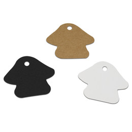 $enCountryForm.capitalKeyWord UK - 500Pcs lot 5.2*4.5cm Mushroom Shape Kraft Paper Tag with Hang Hole Papercard Greeting Card Party Favor Gifts Hanging Tag