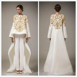$enCountryForm.capitalKeyWord Australia - 2019 New Dubai Arabic Dresses Embroidery Stain Evening Dresses With Long Sleeve Middle East Prom Dress, Coat + Trousers Vestido de festa