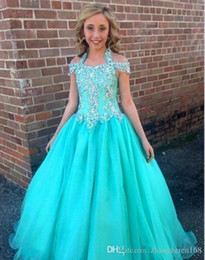 $enCountryForm.capitalKeyWord Australia - Baby Blue Satin Girls Pageant Gowns Off the Shoulder Flower Girl Dresses For Wedding High Low Big Bow Children Birthday Party Gowns