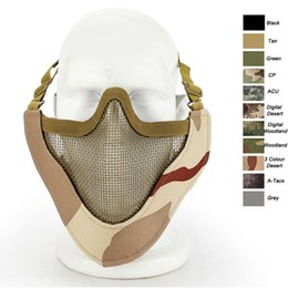 steel mesh face mask Canada - Outdoor Airsoft Shooting Face Protection Gear V9 Metal Steel Wire Mesh Half Face Tactical Airsoft Mask P03-003
