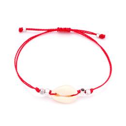 $enCountryForm.capitalKeyWord Australia - Cowrie Seashell Faceted Brass Beads Red String Adjustable Bracelet Women Men Kaballah Shells Draw Thread Slipknot Shore Jewelry