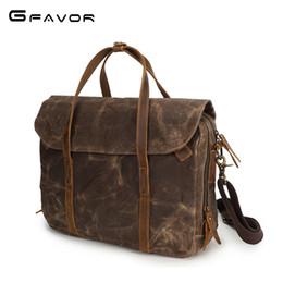 "Horse Oils Australia - Retro Business Briefcase Bags Wax Oil Canvas Crazy Horse Leather Handles Portfolio 15.6"" Laptop Tote Men Shoulder Handbag YD3285"