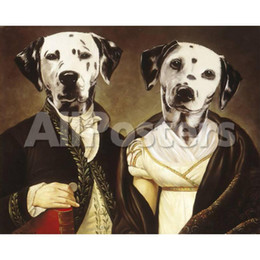 Painting Dog Portraits Australia - Hand painted Thierry Poncelet paintings portraits of Dogs pets Madame et Monsieur High quality