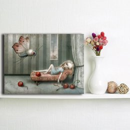 Red Ink Painting Australia - He Brought Her Red Berries by Nicoletta Ceccoli Canvas Painting Wall Picture Poster And Print Decorative For Children Room Home Decor