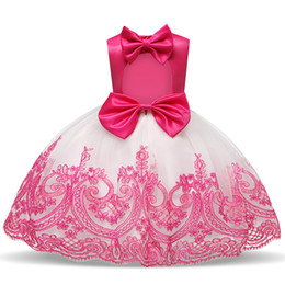 wholesale christening decorations UK - Princess Baby Girls Christening Gown Fancy Tutu Bow Decoration Dresses For Girls Back Hollow Out Wedding Birthday Formal Costume