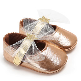 Girls Infants Shoes Australia - Novelty Copper Dazzling lace Spring Summer Baby Shoes Soft Anti-Slip Soft Newborn Infant Crib Shoes Baby Girl First Walkers