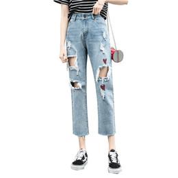 1c498190b838 Hole Girl Jeans Women Ripped Jeans Fashion Trend Capri Pants Loose Slim  Harem Denim Pants