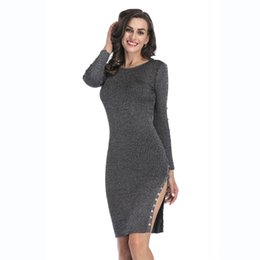 Tight Buttoned Dress NZ - Slim Dresses for Women Split Button Decorative Knit Dress Tight In The Long Paragraph Sexy Package Hip Skirt Autumn and Winter