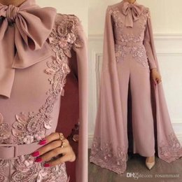 $enCountryForm.capitalKeyWord Australia - Elegant Pink Jumpsuits Evening Dresses With Wrap Long Sleeves Appliqued Plus Size Prom Dress Beaded Outfit Formal Party Gowns Custom