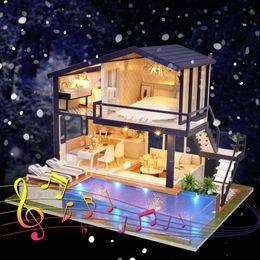 3d Love Dolls Australia - wholesale Mini 3D Wooden Dollhouse LED Time Apartment Doll House Furniture Educational Toys Furniture For children Love Gift