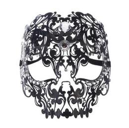 $enCountryForm.capitalKeyWord UK - Black Gold Silver Metal Laser Cut Full Skull Venetian Masquerade Mask Men Women Halloween Shows Ball Rhinestones Prom Party Mask