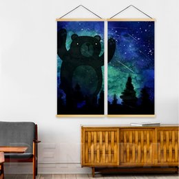 $enCountryForm.capitalKeyWord Australia - Home Decoration Print Pictures Canvas 2 Panel Cartoon Bear Starry Sky Landscape Poster Wall Art Wooden Scroll Hanging Painting