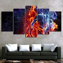 figures Australia - 5 Piece HD Printed Flame Figures Group Painting Canvas Art Print Room Decor Print Poster Picture Canvas Free Shipping