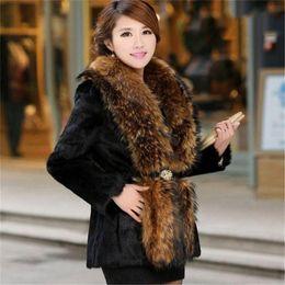 $enCountryForm.capitalKeyWord Australia - XS-6XL 2018 New Rabbit Fur Coat Autumn Winter Female Waist Was Imitation Raccoon Collar Coats Plus Size Women Long Jackets A1476