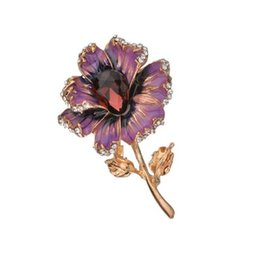 Indian Scarf Dress NZ - Fashion Rose Flower Crystal Brooches For Women 2019 Dress Scarf Brooch Pins Jewelry Fine Accessories b206