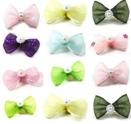 pearl hair accessory wholesale Australia - cute lovely Pet puppy Cat Dog Apparel pearl chiffon accessories Hair Bows with Rubber Bands Grooming Accessories Cute Pet Headwear Costume