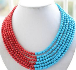 coral beads for sale NZ - Women Gift word Love Hot sale >>>>6strands 6mm blue stone red coral bead necklace for women jewelry