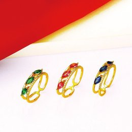 24k Gold Plated Rings Australia - MGFam (322R) Blue   Green   Red Zircon Rings For Women 24k Pure Gold Plated 2019 Fashion Jewelry
