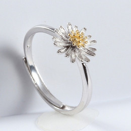 silver plants NZ - Women's Rings Real s925 Silver Bijouterie Adjust Open Plants Flower Daisy Fashion Anniversary Present 2019 Jewelry Wholesales Suppliers 6 pc
